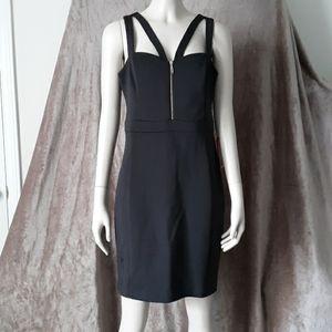 Guess Los Angeles Black Mini Dress Sz 8 Zip Front